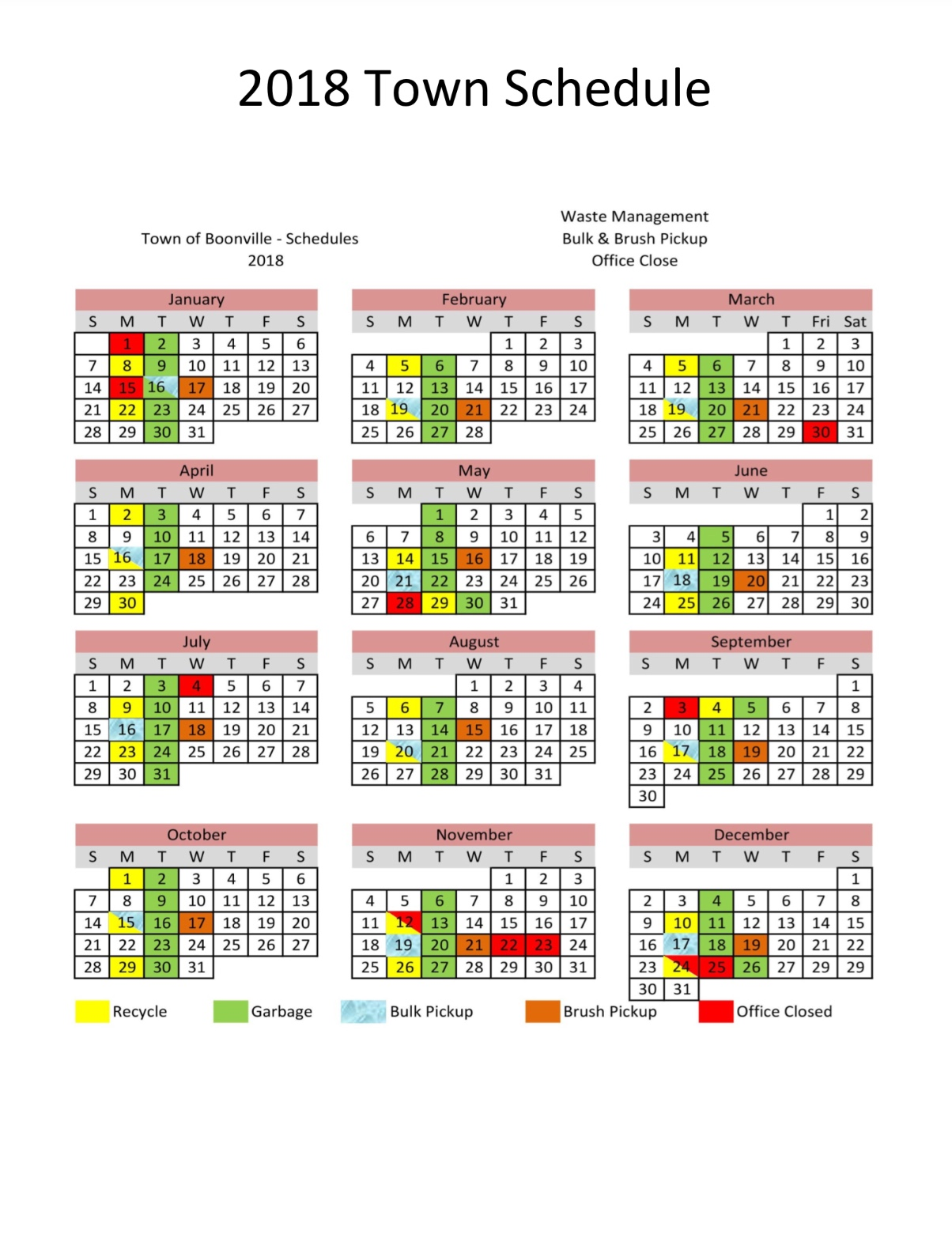 2018 Town of Boonville Calendar - Town of Boonville, NC